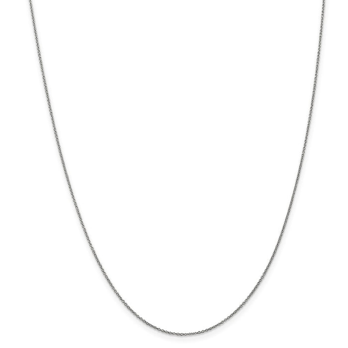 Million Charms 10k White Gold, Necklace Chain, .9mm Polished Cable Chain, Chain Length: 18 inches