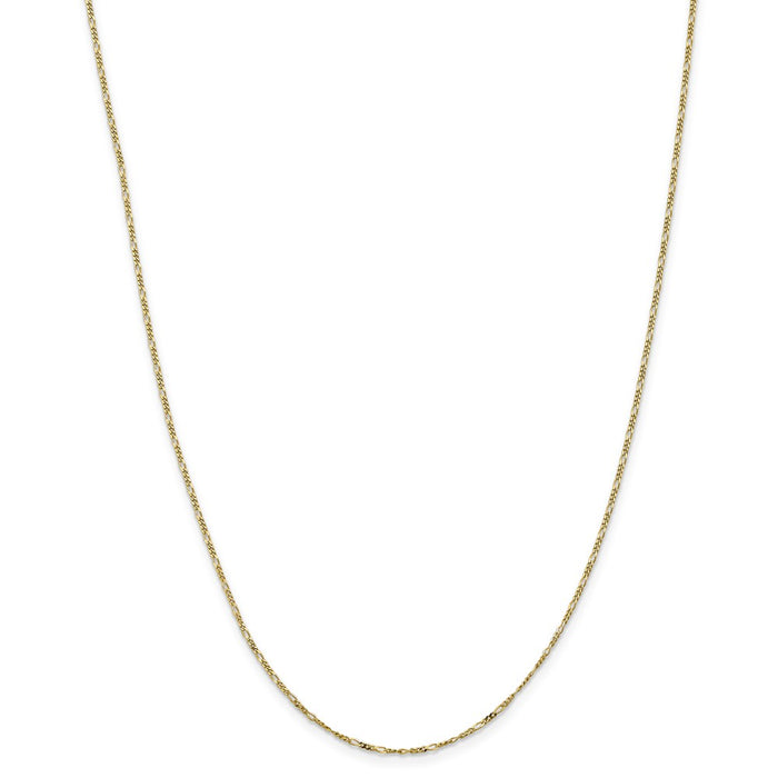 Million Charms 10k Yellow Gold, Necklace Chain, 1.25mm Flat Figaro Chain, Chain Length: 18 inches