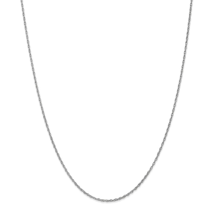 Million Charms 10k White Gold, Necklace Chain, 1.3mm Heavy-Baby Rope Chain, Chain Length: 16 inches
