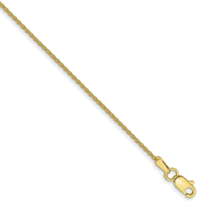 Million Charms 10k Yellow Gold 1.2mm Parisian Wheat Chain, Chain Length: 7 inches