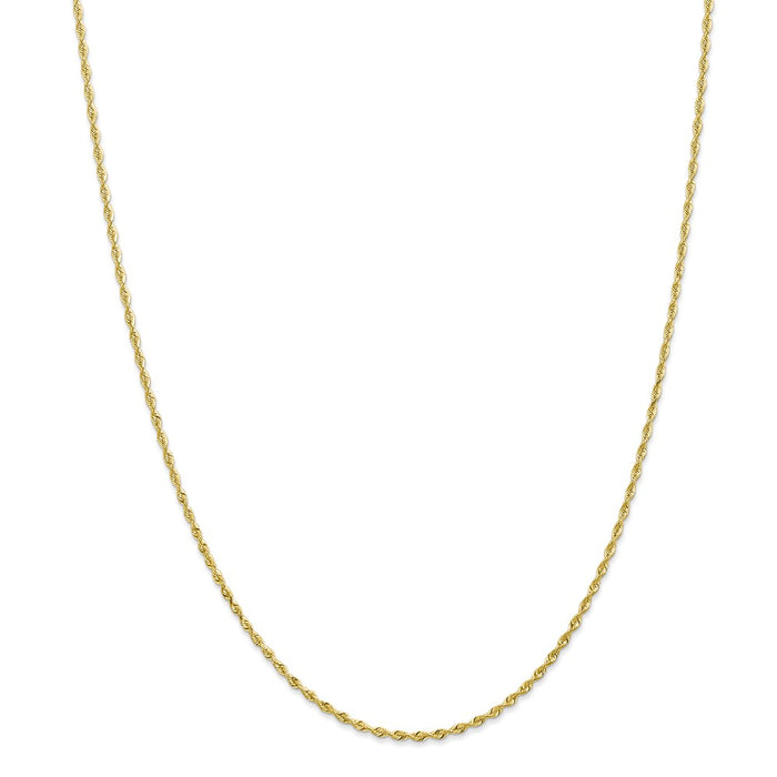 Million Charms 10k Yellow Gold, Necklace Chain, 1.85mm Diamond-Cut Quadruple Rope Chain, Chain Length: 24 inches