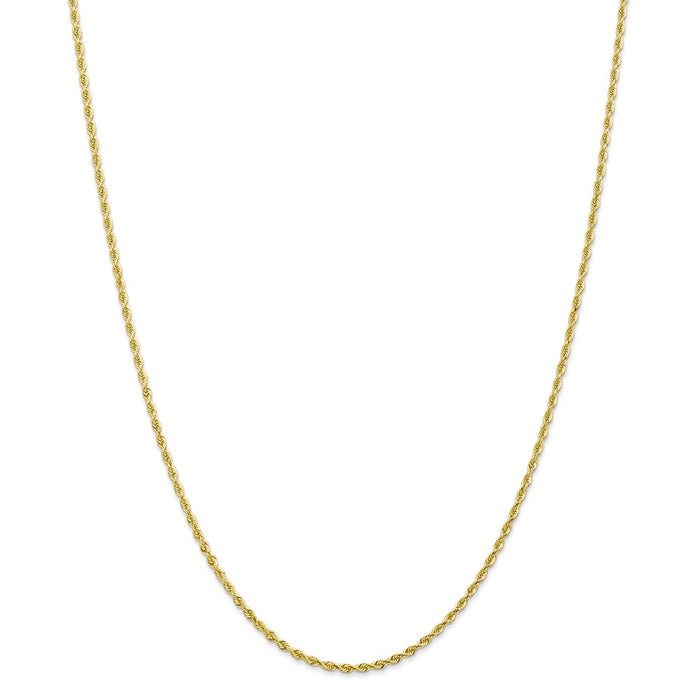Million Charms 10k Yellow Gold 2.00mm Diamond-Cut Quadruple Rope Chain, Chain Length: 10 inches