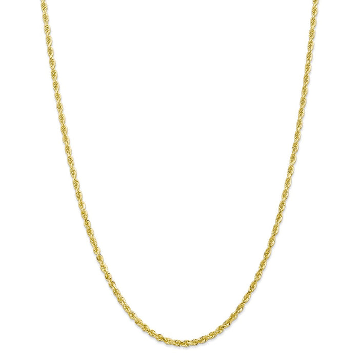 Million Charms 10k Yellow Gold, Necklace Chain, 3.0mm Diamond-Cut Quadruple Rope Chain, Chain Length: 30 inches