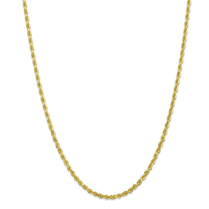 Million Charms 10k Yellow Gold, Necklace Chain, 3.35mm Diamond-Cut Quadruple Rope Chain, Chain Length: 20 inches