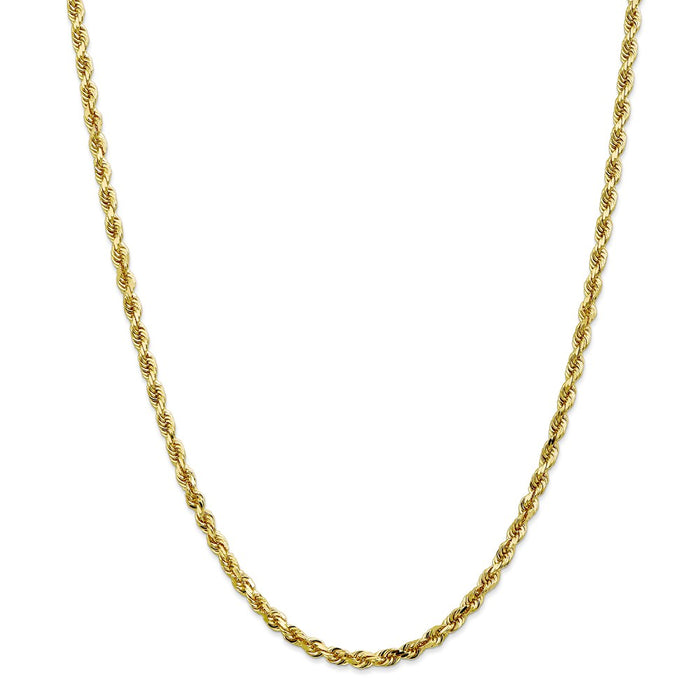 Million Charms 10k Yellow Gold, Necklace Chain, 4mm Diamond-Cut Quadruple Rope Chain, Chain Length: 24 inches
