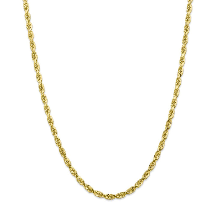 Million Charms 10k Yellow Gold, Necklace Chain, 4.5mm Diamond-Cut Quadruple Rope Chain, Chain Length: 30 inches