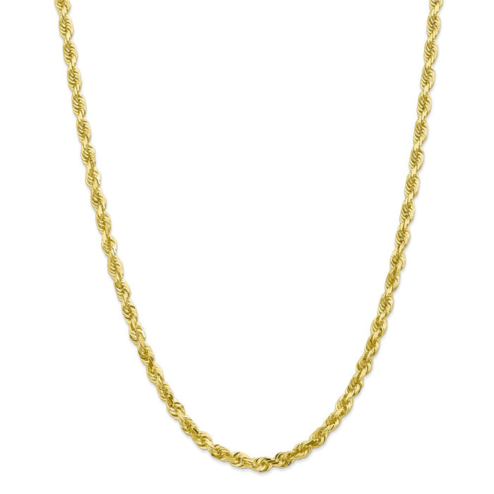 Million Charms 10k Yellow Gold, Necklace Chain, 5.0mm Diamond-Cut Quadruple Rope Chain, Chain Length: 30 inches