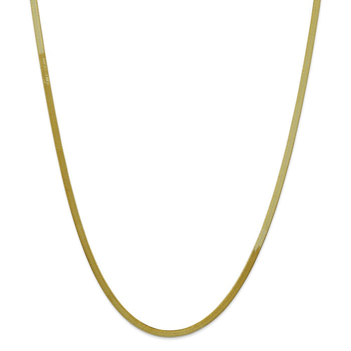 Million Charms 10k Yellow Gold, Necklace Chain, 3.0mm Silky Herringbone Chain, Chain Length: 16 inches