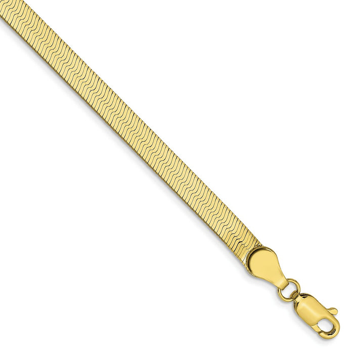 Million Charms 10k Yellow Gold 4.0mm Silky Herringbone Chain, Chain Length: 7 inches