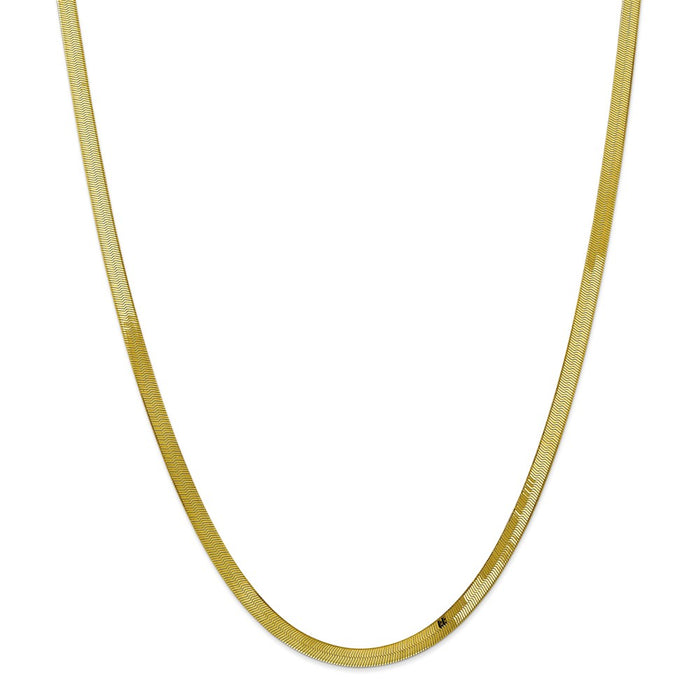 Million Charms 10k Yellow Gold, Necklace Chain, 4.0mm Silky Herringbone Chain, Chain Length: 24 inches