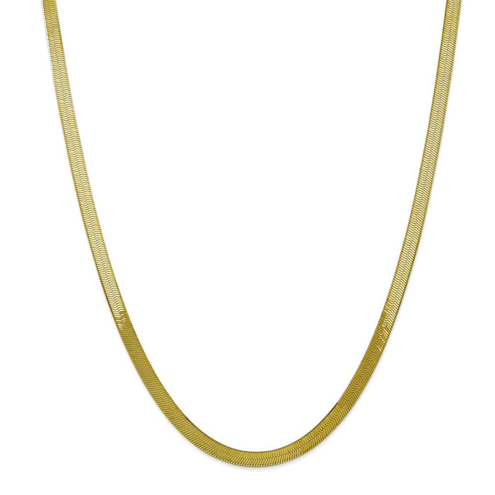 Million Charms 10k Yellow Gold, Necklace Chain, 5.0mm Silky Herringbone Chain, Chain Length: 24 inches