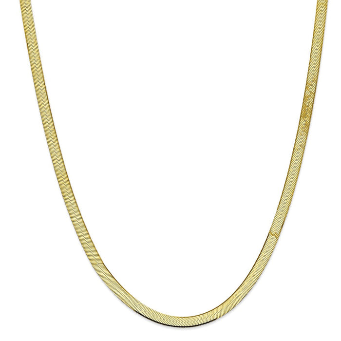 Million Charms 10k Yellow Gold, Necklace Chain, 5.5mm Silky Herringbone Chain, Chain Length: 30 inches