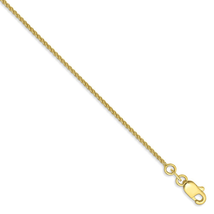 Million Charms 10k Yellow Gold YG 1mm Spiga Chain, Chain Length: 9 inches