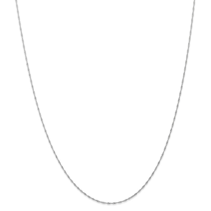 Million Charms 14k White Gold, Necklace Chain, 1mm Singapore Chain (CARDED), Chain Length: 16 inches