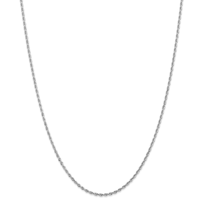 Million Charms 10k White Gold, Necklace Chain, 2.00mm Diamond-Cut Quadruple Rope Chain, Chain Length: 20 inches