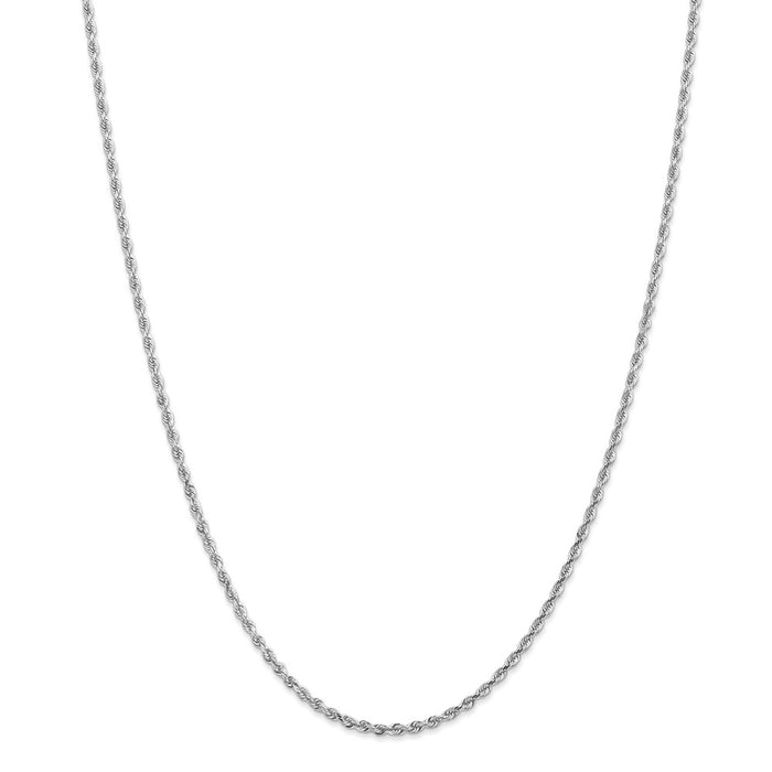Million Charms 10k White Gold, Necklace Chain, 2.25mm Diamond-Cut Quadruple Rope Chain, Chain Length: 22 inches