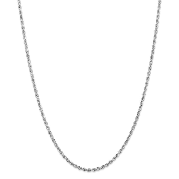 Million Charms 10k White Gold, Necklace Chain, 2.75mm Diamond-Cut Quadruple Rope Chain, Chain Length: 24 inches
