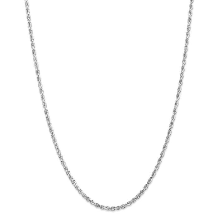 Million Charms 10k White Gold, Necklace Chain, 3.0mm Diamond-Cut Quadruple Rope Chain, Chain Length: 20 inches