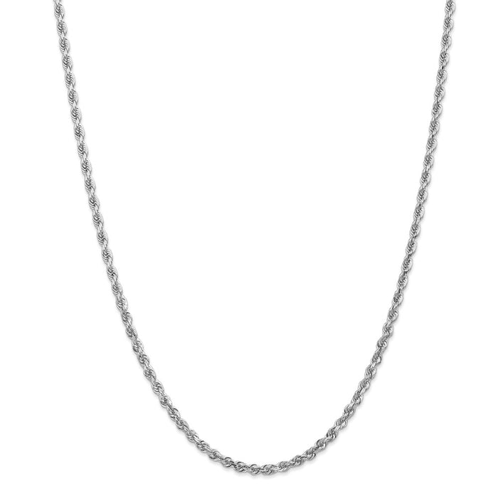 Million Charms 10k White Gold, Necklace Chain, 3.35mm Diamond-Cut Quadruple Rope Chain, Chain Length: 24 inches