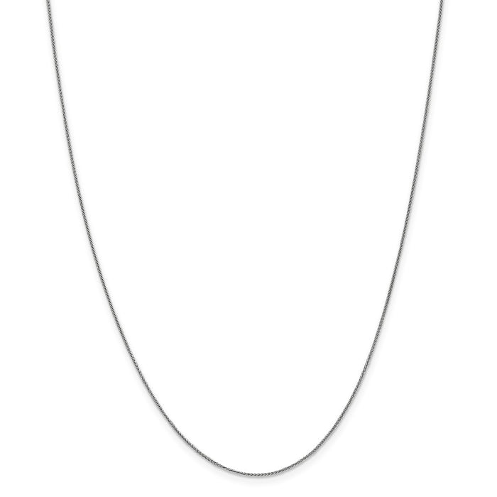 Million Charms 10k White Gold, Necklace Chain, .8mm Spiga Chain, Chain Length: 24 inches