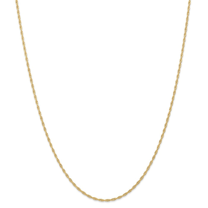 Million Charms 14k Yellow Gold, Necklace Chain, 1.55mm Carded Cable Rope Chain, Chain Length: 16 inches