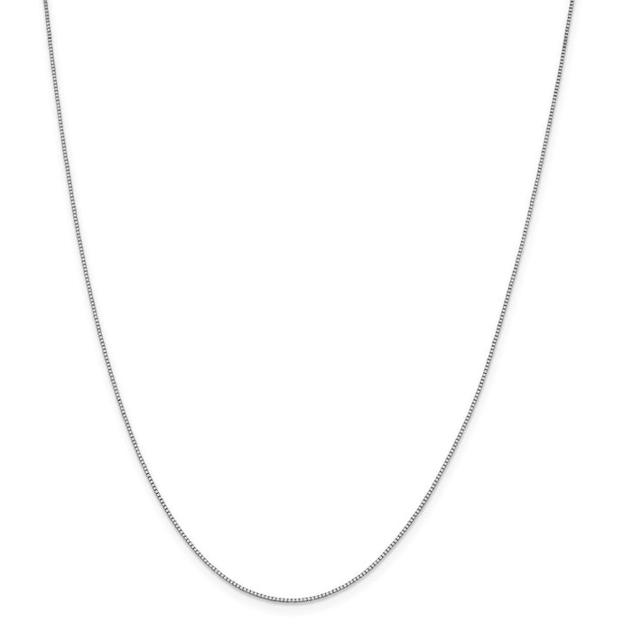 Million Charms 18K Leslie's WG .80mm Box Chain, Chain Length: 24 inches