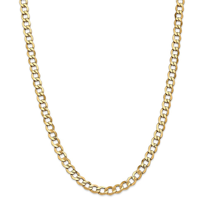 Million Charms 14k Yellow Gold, Necklace Chain, 6.5mm Semi-Solid Curb Link Chain, Chain Length: 24 inches