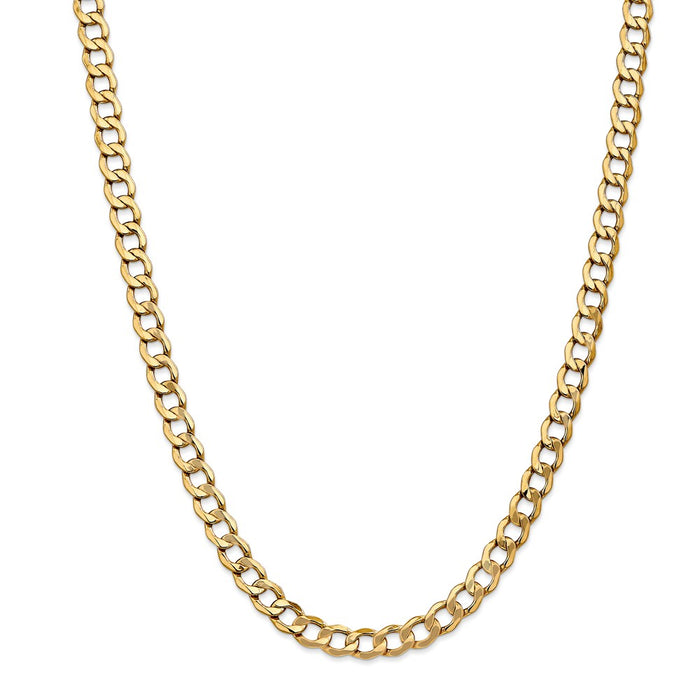Million Charms 14k Yellow Gold, Necklace Chain, 7.0mm Semi-Solid Curb Link Chain, Chain Length: 18 inches