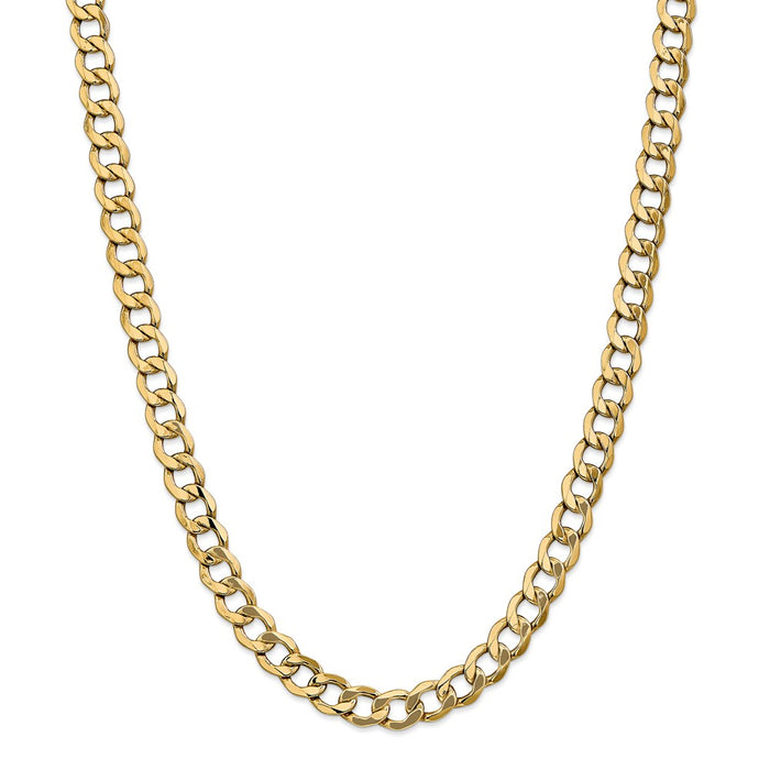 Million Charms 14k Yellow Gold, Necklace Chain, 8.0mm Semi-Solid Curb Link Chain, Chain Length: 18 inches