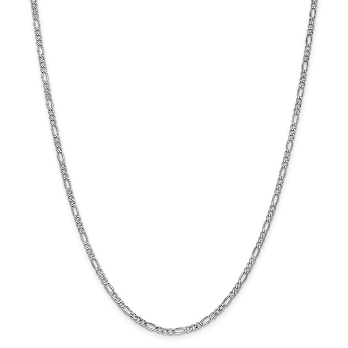 Million Charms 14k 2.5mm White Gold, Necklace Chain, Semi-Solid Figaro Chain, Chain Length: 24 inches