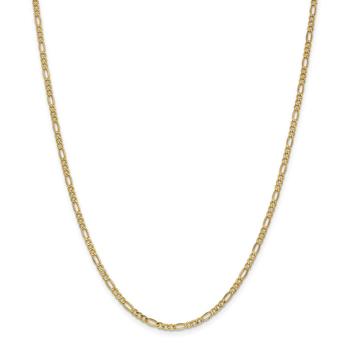 Million Charms 14k Yellow Gold, Necklace Chain, 2.5mm Semi-Solid Figaro Chain, Chain Length: 20 inches