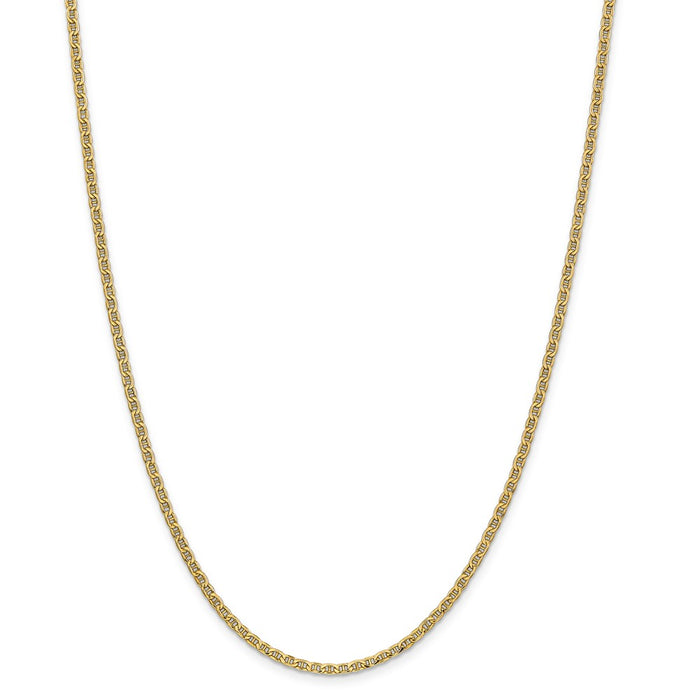 Million Charms 14k Yellow Gold, Necklace Chain, Yellow Gold, Necklace Chain, 2.40mm Semi-Solid Anchor Chain, Chain Length: 24 inches