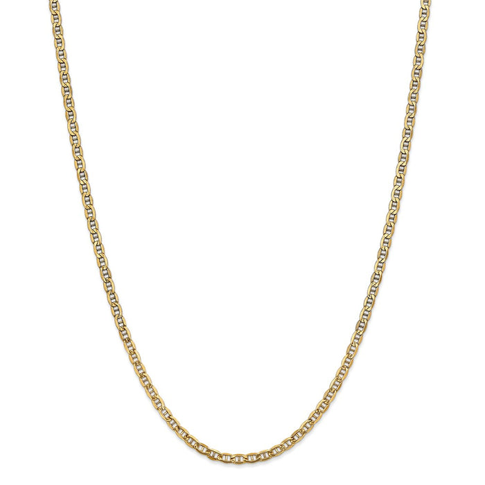Million Charms 14k Yellow Gold, Necklace Chain, Yellow Gold, Necklace Chain, 3.20mm Semi-Solid Anchor Chain, Chain Length: 18 inches