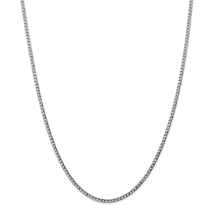 Million Charms 14k White Gold, Necklace Chain, 2.5mm Semi-Solid Curb Link Chain, Chain Length: 24 inches