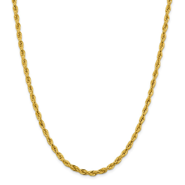Million Charms 10k Yellow Gold, Necklace Chain, 4.25mm Semi-Solid Rope Chain, Chain Length: 28 inches