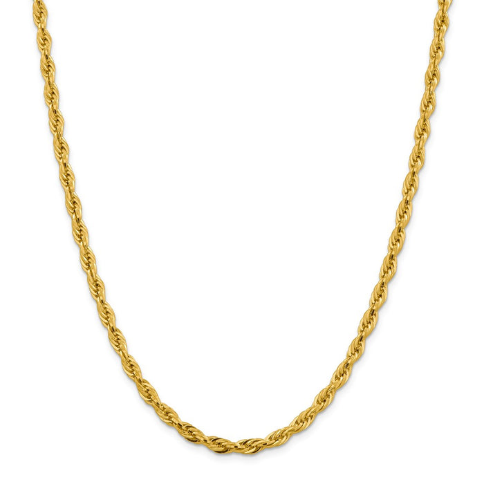 Million Charms 10k Yellow Gold, Necklace Chain, 4.75mm Semi-Solid Rope Chain, Chain Length: 24 inches