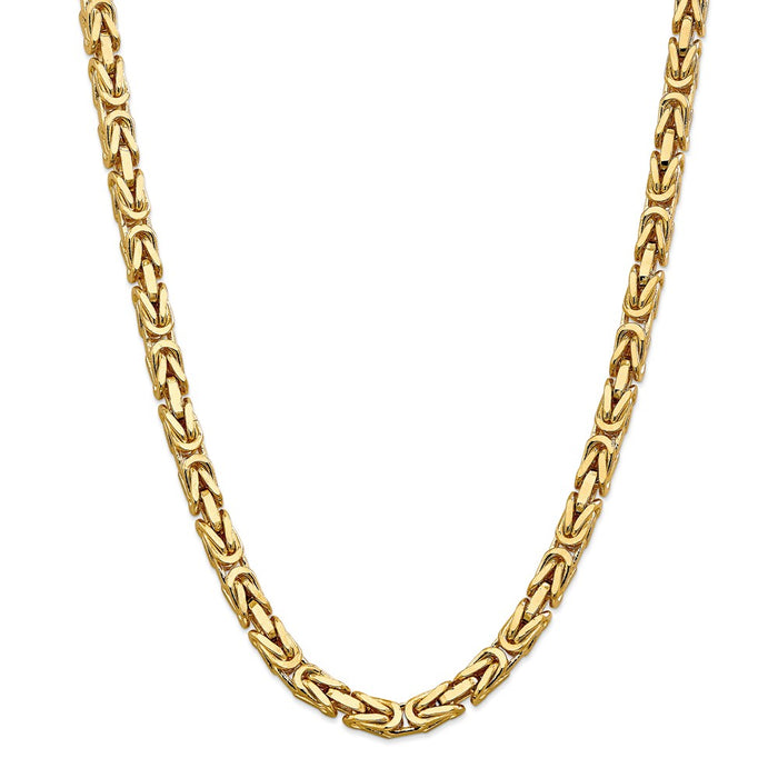 Million Charms 14k Yellow Gold, Necklace Chain, 6.50mm Byzantine Chain, Chain Length: 24 inches