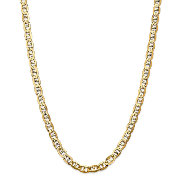 Million Charms 14k Yellow Gold, Necklace Chain, 7mm Concave Anchor Chain, Chain Length: 26 inches