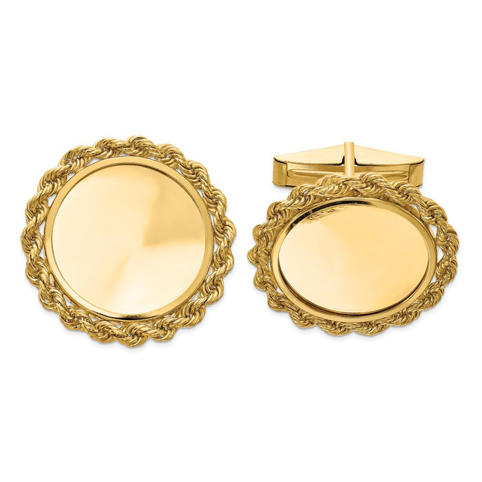 Occasion Gallery, Men's Accessories, 14k Yellow Gold 1/10oz Panda Coin Solid Polished Rope Bezel Cuff Links Mounting
