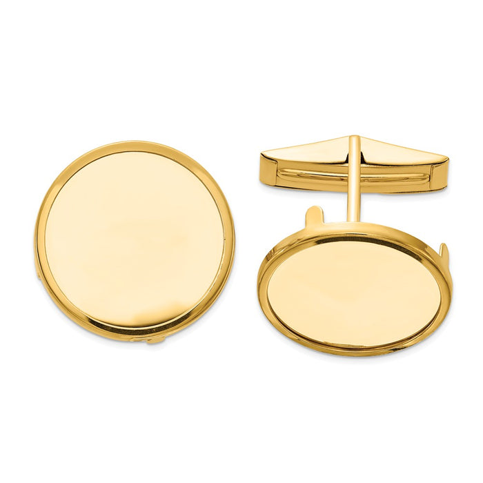 Occasion Gallery, Men's Accessories, 14k Yellow Gold 1/10oz American Eagle Polished Plain Bezel Cuff Links Mounting