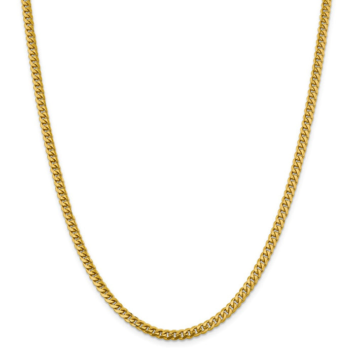 Million Charms 14k Yellow Gold, Necklace Chain, 4.25mm Solid Miami Cuban Chain, Chain Length: 24 inches