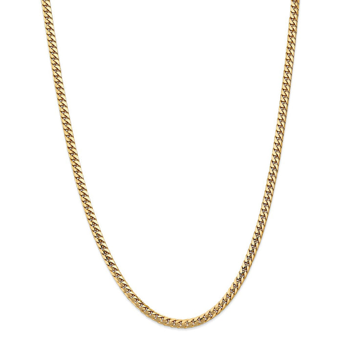 Million Charms 14k Yellow Gold, Necklace Chain, 4.3mm Solid Miami Cuban Chain, Chain Length: 24 inches