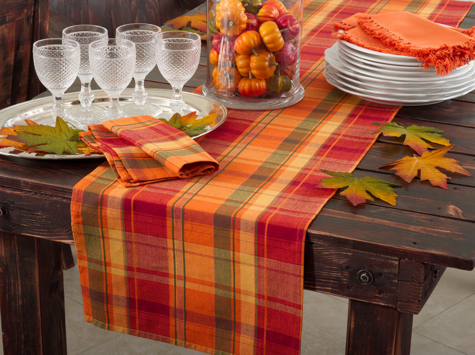 Occasion Gallery Terracotta Orange Holiday Harvest Plaid Design Cotton Runner.