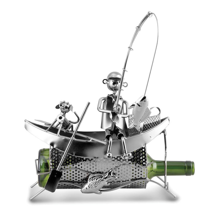 Occasion Gallery®  Fisherman in Boat Metal Wine Caddy