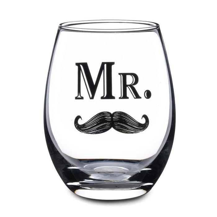 Lillian Rose Mr. Wine Glass with Mustache