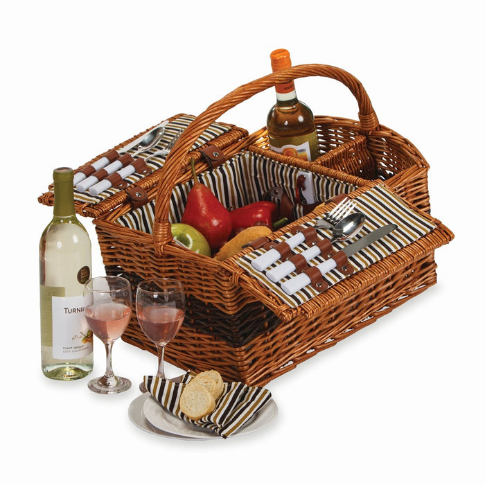 Hand-woven Willow Service for Two Wine Carrier and Picnic Basket