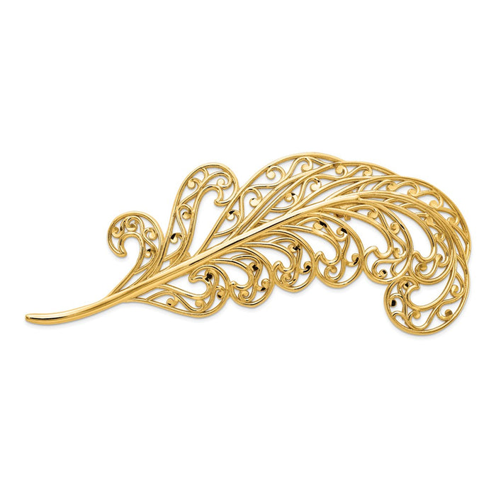 14k Yellow Gold Filigree Feather Pin