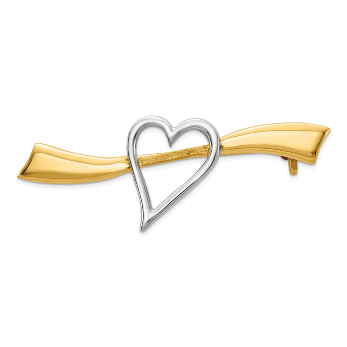 14k Yellow Gold & Rhodium Solid Satin Polished Heart Pin
