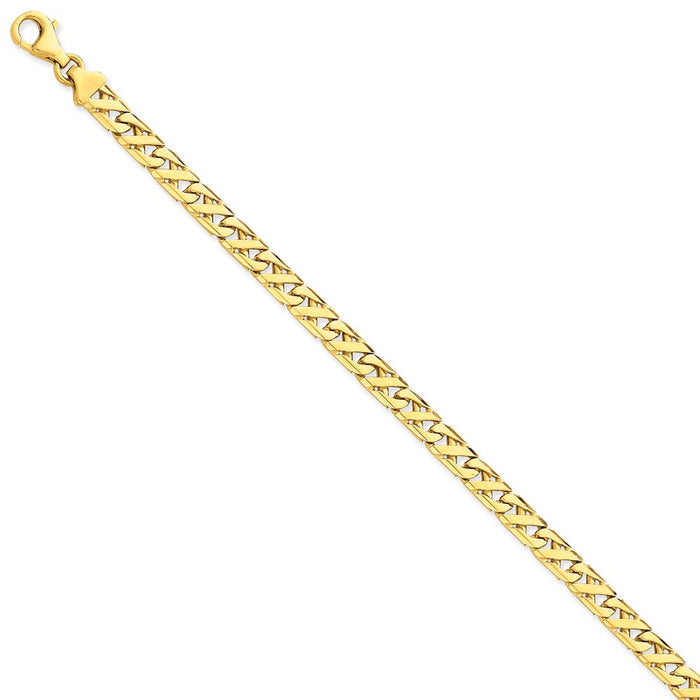 Million Charms 14k Yellow Gold 6.1mm Hand-polished Fancy Link Bracelet, Chain Length: 8 inches