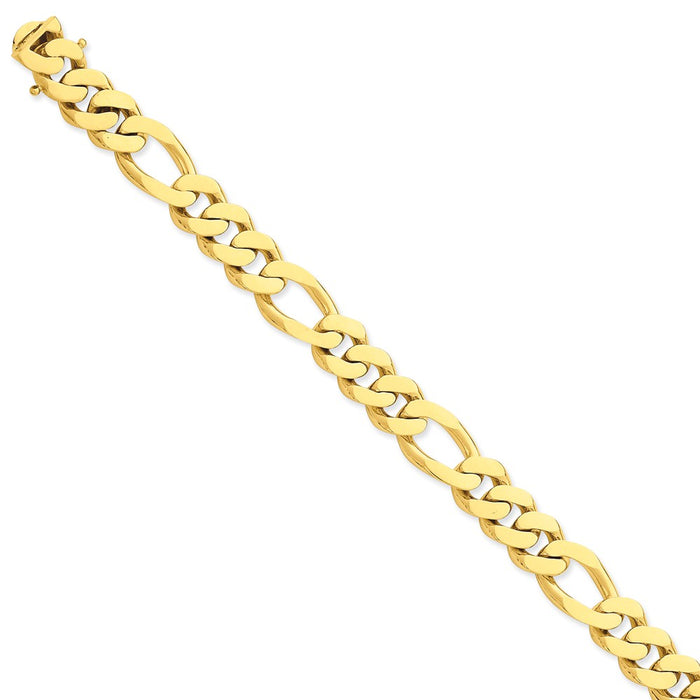 Million Charms 14k Yellow Gold 11.8mm Polished Fancy Link Bracelet, Chain Length: 8.5 inches
